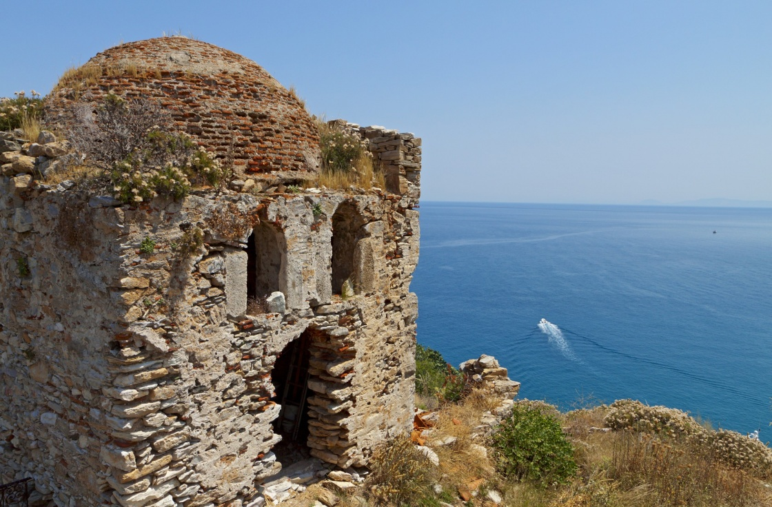 The old castle of Skiathos island in Greece